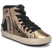 Zapatos Niña Zapatillas altas Geox KALISPERA Oro / Negro
