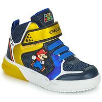Zapatos Niño Zapatillas altas Geox GRAYJAY Azul / Amarillo