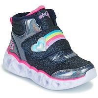 Zapatos Niña Zapatillas altas Skechers HEART LIGHTS Marino / Led