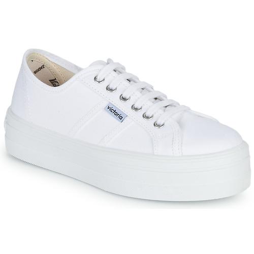 Zapatos Mujer Zapatillas bajas Victoria BLUCHER LONA PLATAFORMA Blanco