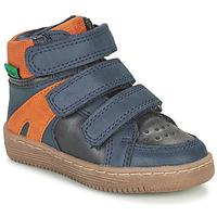 Zapatos Niño Botas de caña baja Kickers LOGGAN Marino / Naranja