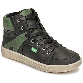 Zapatos Niño Zapatillas altas Kickers LOWELL Negro / Verde