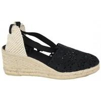 Zapatos Mujer Alpargatas Lolas VALENCIANA  PUNTILLA PISO 5 CUERDAS Negro