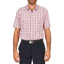 textil Hombre camisas manga corta Pierre Cardin CH MC CARREAU GRAPHIQUE Blanco / Rojo