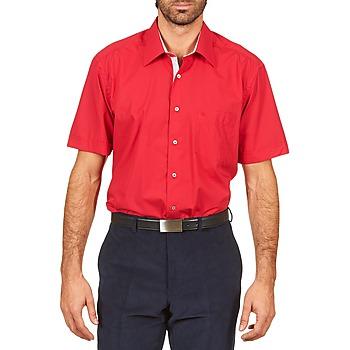 textil Hombre camisas manga corta Pierre Cardin CH MC POPELINE UNIE - OPPO RAYURE INTERIEUR COL & POIGNET Rosa / Rojo