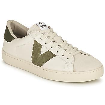 Zapatos Mujer Zapatillas bajas Victoria BERLIN PIEL CONTRASTE Blanco / Kaki