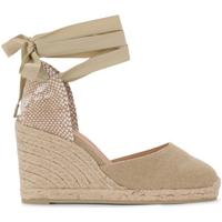 Zapatos Mujer Zapatos de tacón Castaner Sandalia con cuña Carina de tela y tejido color arena Beige