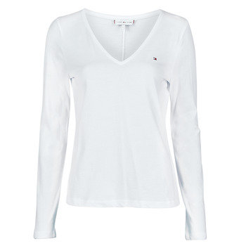 textil Mujer Camisetas manga larga Tommy Hilfiger REGULAR CLASSIC V-NK TOP LS Blanco