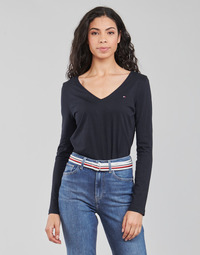 textil Mujer Camisetas manga larga Tommy Hilfiger REGULAR CLASSIC V-NK TOP LS Marino