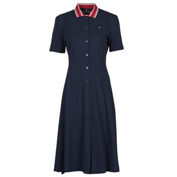 textil Mujer Vestidos cortos Tommy Hilfiger PIQUE F&F MIDI POLO DRESS SS Marino