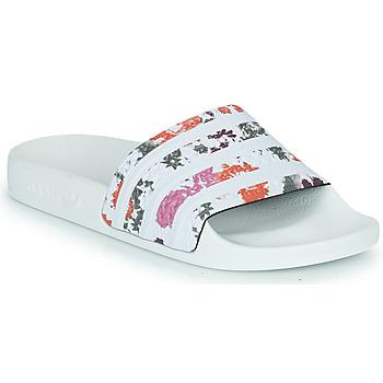 Zapatos Mujer Chanclas adidas Originals ADILETTE W Blanco / Flores