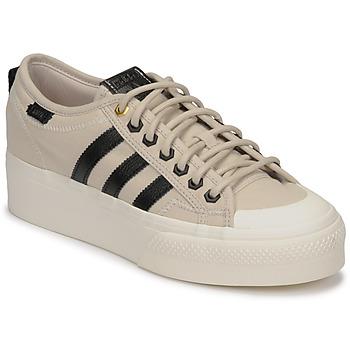 Zapatos Mujer Zapatillas bajas adidas Originals NIZZA PLATFORM W Beige / Negro