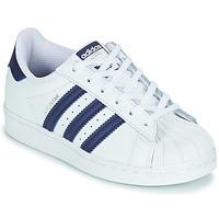 Zapatos Niños Zapatillas bajas adidas Originals SUPERSTAR C Blanco / Azul