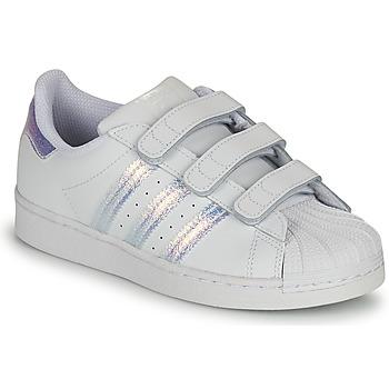 Zapatos Niños Zapatillas bajas adidas Originals SUPERSTAR CF C Blanco / Plateado