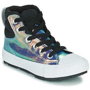 Zapatos Niña Zapatillas altas Converse CHUCK TAYLOR ALL STAR BERKSHIRE BOOT IRIDESCENT LEATHER HI Negro / Brillante
