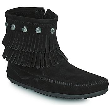 Zapatos Mujer Botas de caña baja Minnetonka DOUBLE FRINGE SIDE ZIP BOOT Negro