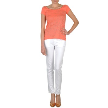 textil Mujer vaqueros slim Calvin Klein Jeans JEAN BLANC BORDURE ARGENTEE Blanco