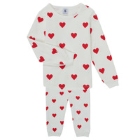 textil Niña Pijama Petit Bateau CASSANDRE Blanco / Rojo