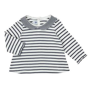 textil Niña Camisetas manga larga Petit Bateau HOLINU Blanco / Azul