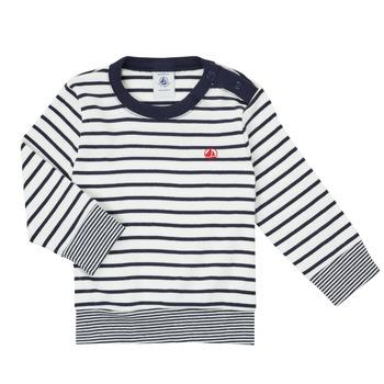 textil Niño Camisetas manga larga Petit Bateau IGRAE Blanco / Azul