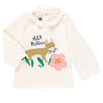 textil Niña Camisetas manga larga Petit Bateau ENLEVE Blanco