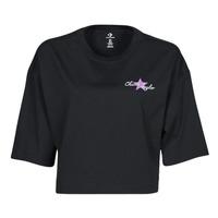 textil Mujer Camisetas manga corta Converse CHUCK INSPIRED HYBRID FLOWER OVERSIZED CROPPED TEE Negro