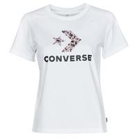 textil Mujer Camisetas manga corta Converse STAR CHEVRON HYBRID FLOWER INFILL CLASSIC TEE Blanco