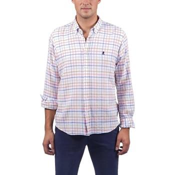 textil Hombre Camisas manga larga El Pulpo CAMISA SARGA CUADROS ROSA Rosa