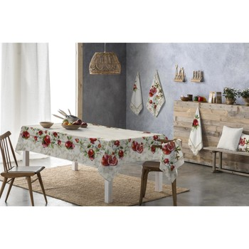 Casa Manteles Naf Naf Mantel resinado  VINTAGE FRUITS beige/rojo