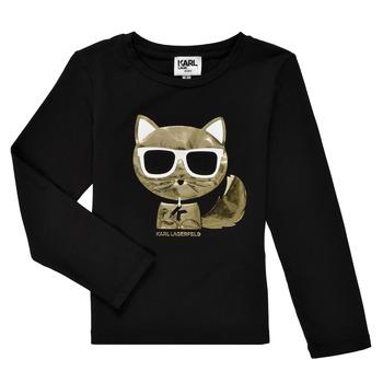 textil Niña Camisetas manga larga Karl Lagerfeld AMETHYSTE Negro