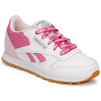 Zapatos Niños Zapatillas bajas Reebok Classic CL LTHR Blanco / Rosa