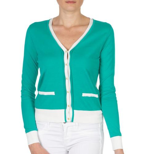 textil Mujer Chaquetas de punto Petit Bateau TSARY Verde / Blanco