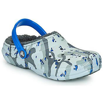 Zapatos Niño Zuecos (Clogs) Crocs CLASSIC LINED CAMO CG K Gris / Azul