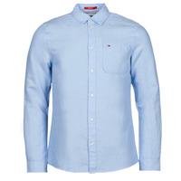 textil Hombre Camisas manga larga Tommy Jeans TJM LINEN BLEND SHIRT Azul