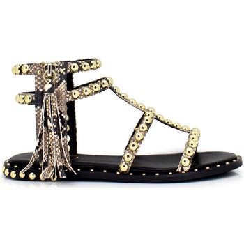Zapatos Mujer Sandalias Exé Shoes SANDALIA PLANA SNAKE CON DETALLE POMPÓN VF239C-50 Color Beige