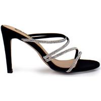 Zapatos Mujer Zuecos (Mules) Exé Shoes SANDALIA TACÓN CON TIRAS BRILLANTES REBECA-355 Color Negro