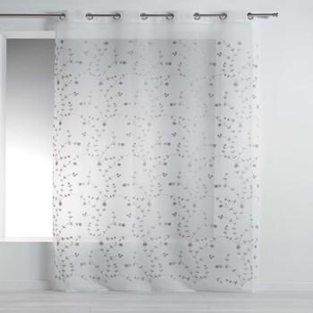 Casa Cortinas transparentes Douceur d intérieur PETITE FLEUR Blanco / Gris