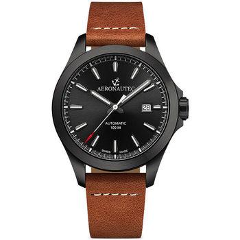 Relojes & Joyas Hombre Relojes analógicos Aeronautec ANT-44077.11, Automatic, 42mm, 10ATM Negro