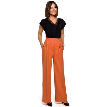 textil Mujer Pantalones fluidos Style S203 Pantalones palazzo con cintura elástica - naranja