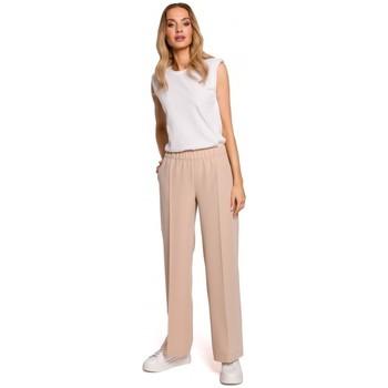 textil Mujer Pantalones fluidos Moe M570 Pantalones de pernera arrugada - beige