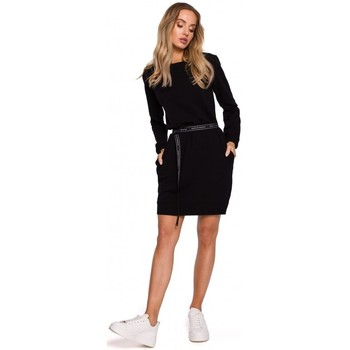 textil Mujer Vestidos cortos Moe M590 Vestido de jersey con cinturón con logotipo - crema