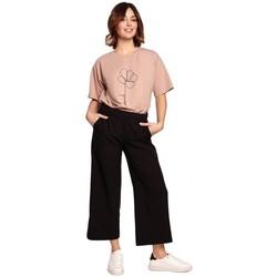 textil Mujer Pantalones fluidos Be B188 Culottes con cintura elástica - negro