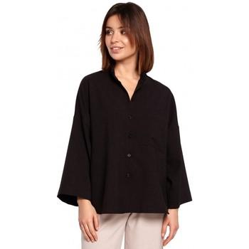 textil Mujer Camisas Be B191 Camisa de gran tamaño con cuello - negra
