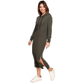 textil Mujer Vestidos largos Be B197 Vestido Midi Con Capucha - mocca