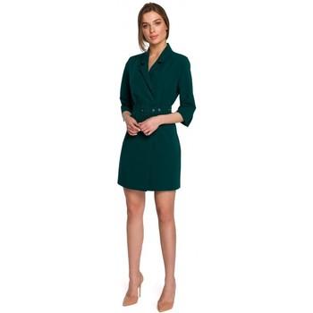 textil Mujer Vestidos cortos Style S254 Vestido de chaqueta con cinturón de hebilla - azul real