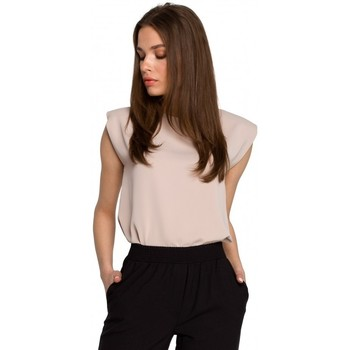 textil Mujer Tops / Blusas Style S260 Blusa sin mangas con hombros acolchados - beige