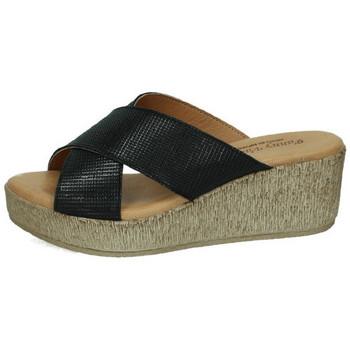 Zapatos Mujer Zuecos (Mules) Fanny Valero Sandalias de piel NEGRO