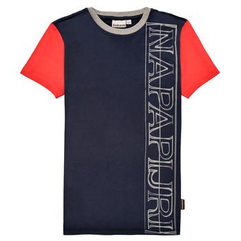 textil Niño Camisetas manga corta Napapijri SAOBAB Marino / Rojo