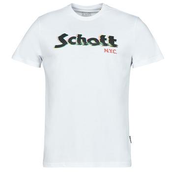 textil Hombre Camisetas manga corta Schott TSLOGOELEK Blanco