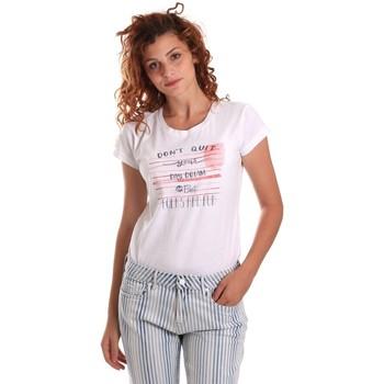 textil Mujer Camisetas manga corta Key Up 5K02S 0001 Blanco